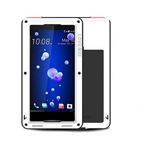 HTC U11 Hülle Case, Eastcoo wasserdicht stoßfest Alloy Aluminum Metal Bumper Gorilla Glass Soft silikon Military Schwer Metall Militär Starkes stoßfestes hartes Hülle Tasche Cover für HTC U11(White) Htc Case
