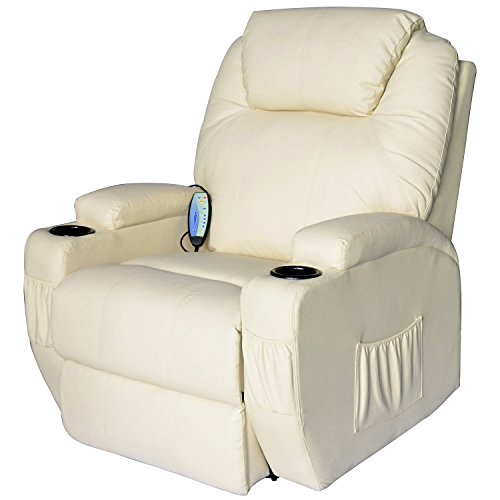 Homcom® Massagesessel Fernsehsessel mit Heizfunktion und Massagefunktion creme