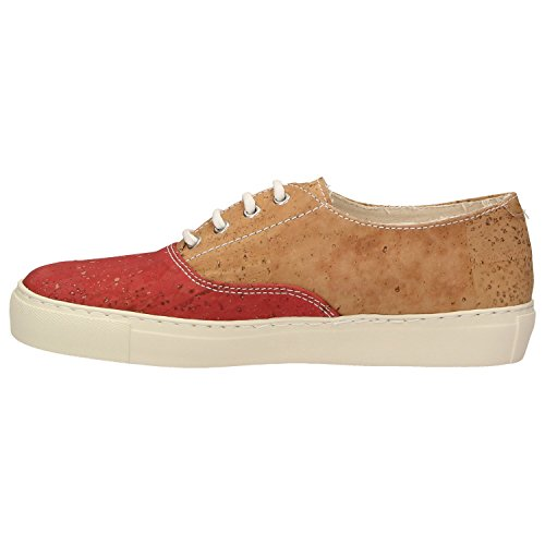 ZWEIGUT® -Hamburg- echt #406 Damen Sneaker vegane Korkschuhe auf federleichter Laufsohle, Schuhgröße:37, Farbe:rot-kork - 3