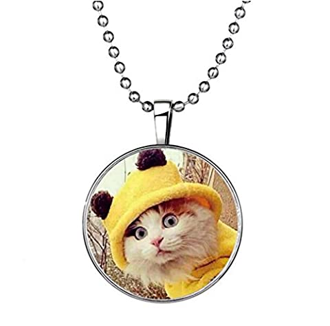 Winter Secret de Lovely Meow Cat Glow Pendentif Creative Circle Elements of Animal en Collier