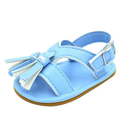 BéBé Chaussures, OverDose Baby Girls Sandales Soft Tassel Shoes Non-Slip Shoes Bleu