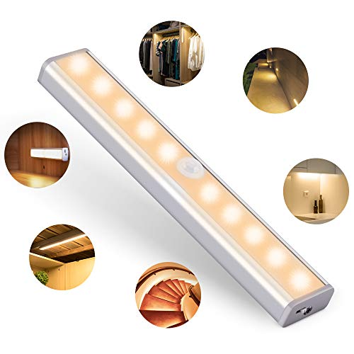 htung LED Bewegungsmelder Unterbauleuchten für Küche kabellos Kleiderschrank Nachtlicht mit 2 Magnetstreifen Warmweiß Verpackung MEHRWEG ()