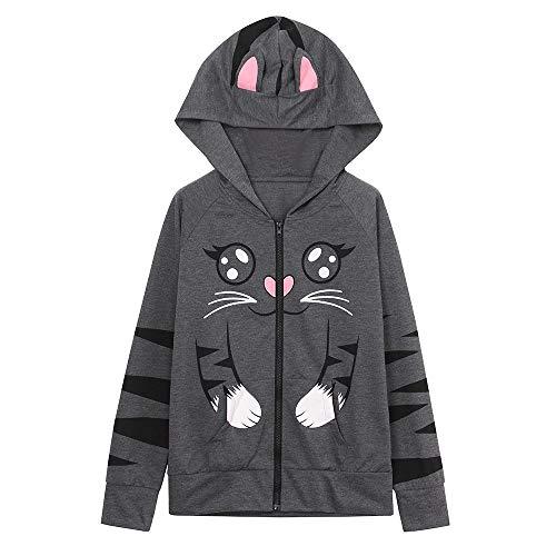 TOPKEAL Jacke Mantel Damen Herbst Winter Sweatshirt Langarm Steppjacke Kapuzenjacke Katze mit Kapuze Bedruckt Hoodie Pullover Coats Tops Mode 2019 ... -