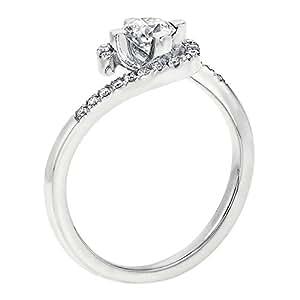 EGL Zertifikat Klassischer 18 Karat (750) Weißgold Damen - Diamant Ring Round 0.32 Karat F-SI2 (Ringgröße 48-63)