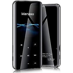 Lecteur MP3 MANSSO, Bluetooth 4.2/2.4 TFT Écran HiFi/Boutons Tactile MP3, Lecteur Audio numérique Portable sans Perte de 8 Go Radio FM E-Book enregistreur Vocal