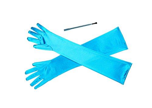 Hell türkis erweiterbar Zigarettenspitze und lange Satin Handschuh Kostüm Zubehör Set (Cruella Kostüm Zubehör)