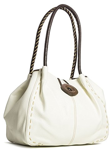 Big Handbag Shop moderne Damen Schultertasche Boutique aus Kunstleder Cream