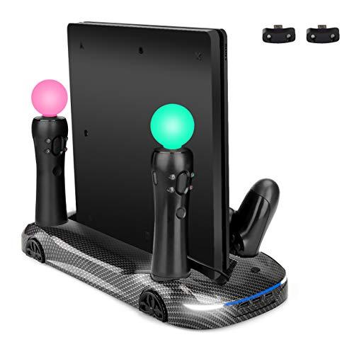 Slim Standfuß Vertikal Stand mit Kühler Lüfter & USB Hub, PS4 Pro/Slim Controller Ladestation Aufladestation, Ladegerät für 2 PS Move(PS3/PS4 Move)und 2 PS4 Controller ()