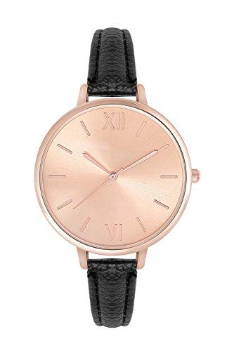 New Trend Unisex Armbanduhr Damen-Uhr Herren-Uhr, Analog Display, Quarzwerk, Leder-Armband, römische Ziffern, mit Dornschließe