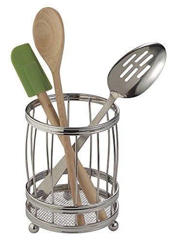 mDesign Küchenutensilienhalter für Kochlöffel und Co. – Offener Besteckhalter aus Metall für die Küche – Besteckständer mit praktischem Abtropfsieb – silberfarben (Löffel Organizer Für Die Küche)