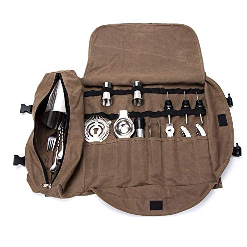 Bartender Kit bolsa de mano, portátil, grande, juego de barras, bolsa de rollo, casa y lugar de trabajo, bolsa de herramientas para hacer cócteles para viajes GJB309