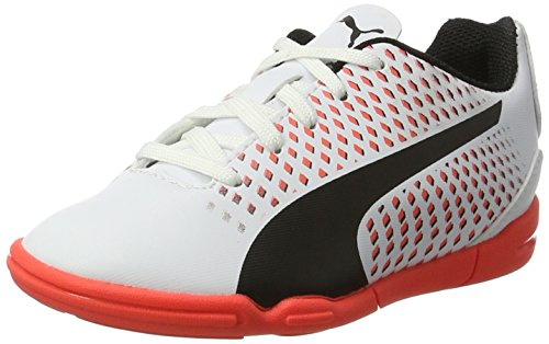 Puma Adreno III It Jr, Zapatillas de Fútbol Unisex Niños, Blanco (White-Black-Fiery Coral), 38 EU