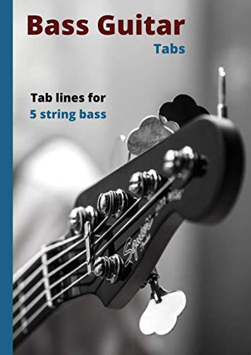 Bass Guitar Tabs: Blank manuscript music pages with Tab lines for 5 string bass