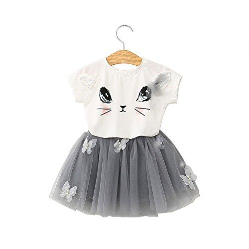 Amoyl Mädchen Kleider Set Katze Muster Shirt Top Schmetterling Tutu Rock Dancewear Kleider Prinzessin Kleider 3-7 T (Weiß, 5T/120)