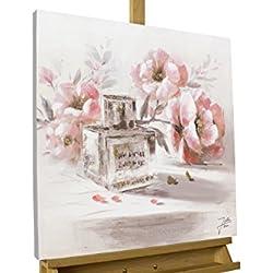 KunstLoft® Gemälde 'One of a Kind' 60x60cm | original handgemalte Leinwand Bilder XXL | Blume Rosa Parfüm Romantisch Gold Glitter | Wandbild Acryl bild moderne Kunst einteilig mit Rahmen