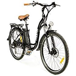 "Moma Bikes Bicicleta Electrica, Urbana EBIKE-26 "", Alu. SHIMANO 7V & Doble Freno Disco Bat. Ion Litio 36V 16Ah"