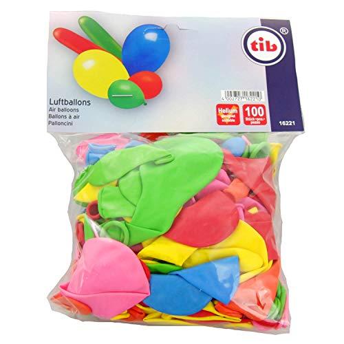 tib 16221 Luftballons in verschiedenen Farben, Formen und Größen, 100 Stück, mehrfarbig, One
