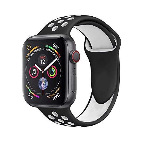 Preisvergleich Produktbild Ontube Soft Silikon Ersatzband mit Uhrenarmband für lWatch Armband Serie 4, Serie 3,  Serie 2,  Serie 1,  Sport,  Edition (Apple Watch 42mm,  Black / White)