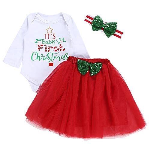 Baby Mädchen Kleidung Set Brief Drucken Tops + Tutu Rock + Stirnband Weihnachten Kostüm Outfit Set (Weiß, 12-18 Monate/90) ()