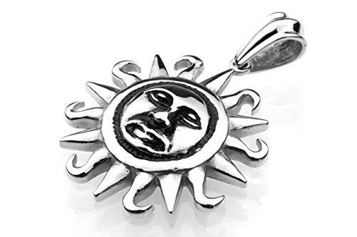 Edelstahlanhänger Anhänger Edelstahl Sonne Helios Mythologie Gaia Herren-Schmuck Griechenland NEU