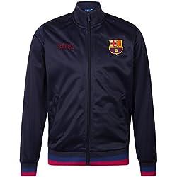 FCB FC Barcelona - Chaqueta de entrenamiento oficial - Para hombre - Estilo retro - Azul marino - XXL