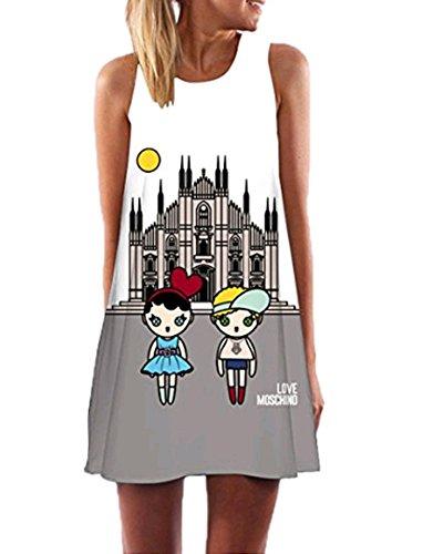 RAYWIND Neueste Kleid f¨¹r Frauen beil?ufige Sommer Kleider mit Blumenmuster Style one