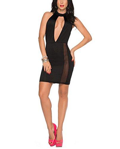 DuuoZy Frauen-reizvolle Backless Partei-Cocktail-Abend Bodycon Midi-Kleid Clubwear , black , (T Ice Halloween Kostüm)