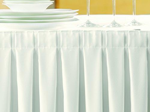 Gastro Uzal Skirting weiß/Kellerfalte: 490 x 73 cm, Skirtings für Tische, Büffet Skirting Tablerock