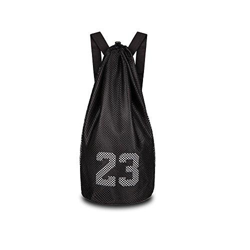 escomdp 2-Lagen 230g Kordelzug Sport Aufbewahrungstasche Basketball Fußball Volleyball Rucksack, 29L XXL schwarz