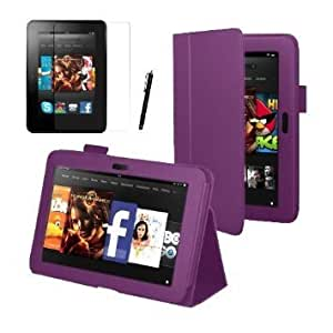 """Purple Executive Multi Function Standby Case for the Kindle Fire HD 7"""" Tablet 16GB or 32GB with Built-in Magnet for Sleep / Wake Feature + Screen Protector + Capacitive Stylus Pen"""