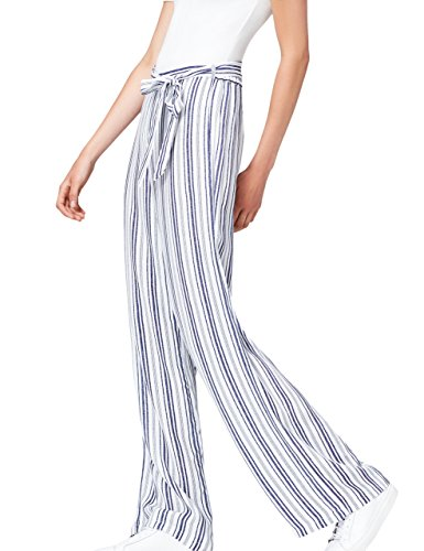 FIND Damen Hose Stripe Wide Leg Blau (Blue/White), 36 (Herstellergröße: Small) (Leg Wide Hose Hohe Taille)