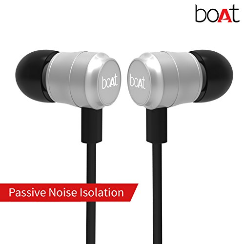 boAt BassHeads 235 In-Ear Extra Bass Earphones with Mic (Lustrous Silver)