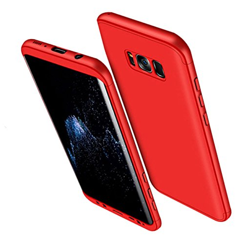 Qissy® Carcasa Samsung Galaxy S8 Plus ,3 in 1 Todo incluido Anti-Scratch Ultra Slim Protective 360 PC Case Cover para Samsung Galaxy S8/S8 + (Samsung Galaxy S8, Rojo)