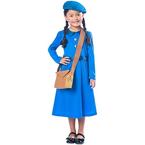 WW2 Umsiedler Mädchen Kostüm 2. Weltkrieg Büchertag Woche Kinder Kostüm - Mehrfarbig, (Kostüm Kind Ww2 Evacuee)