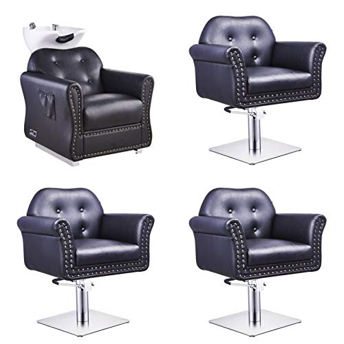 BEAUTY SALON FURNITURE PACKAGE SALON SHAMPOO BACKWASH UNIT AND STYLING CHAIR MATCHING PACAKGE E0850 (BLACK)