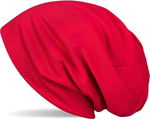 styleBREAKER Klassische Slouch Beanie Mütze, leicht, Unisex 04024018, Farbe:Rot Rote Mütze
