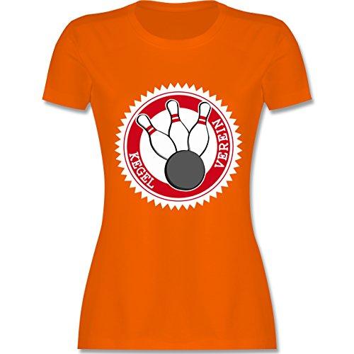 Bowling & Kegeln - Kegel Verein Badge Abzeichen - tailliertes Premium T-Shirt mit Rundhalsausschnitt für Damen Orange