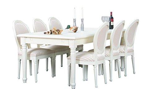 8tlg. Essgruppe BAROCK Esstisch Sitzgruppe Tischgruppe Erweiterbar massiv weiß