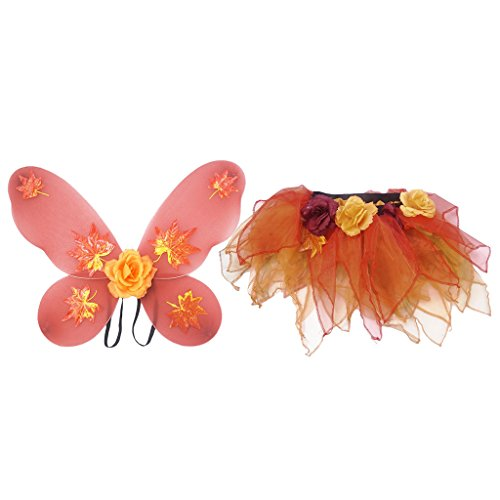 MagiDeal 4 Stück Mädchen Fee Kostüme Outfit Set mit Schmetterlingsflügel Tutu Rock Tanzkleid Blumen Ballettrock - Orange (Fee Inspirieren Halloween-kostüm)