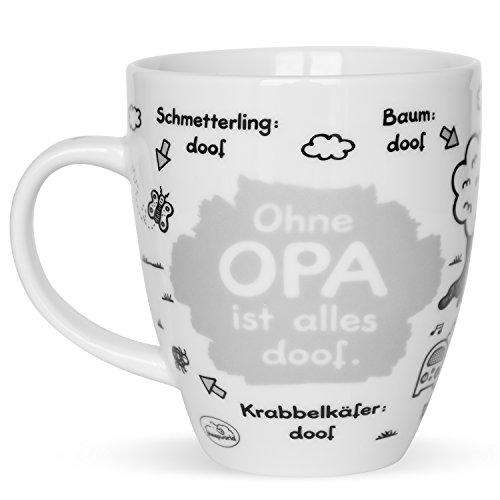 """Sheepworld 45136 Tasse mit Spruch \""""Ohne Opa ist alles doof\"""", Porzellan, Geschenk Opa, 45 cl"""