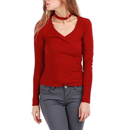 La Modeuse - Top côtelé femme Rouge