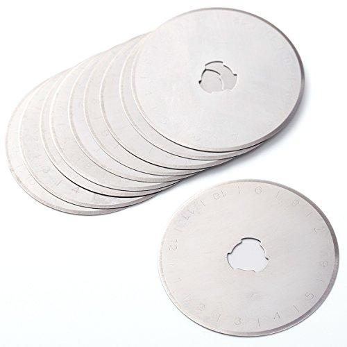10x Lame circulaire Ronde de Rechange Accessoires de Couteau Rotatif pour scie sur tissu cuir papier plastique 45mm