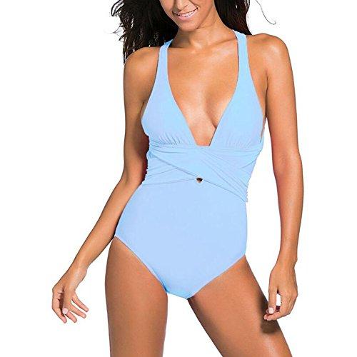 YZY-costume da bagno Donna Costumi da Bagno Backless Costumi da Bagno Costumi da Bagno Costume Intero Costumi da Bagno Hot Selling, Sexy Nero (Colore : Blue, Dimensioni : XXL)