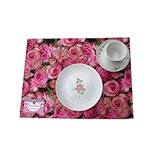 """Ausverkauf SALE Tischset oder Tischdeckchen""""Rosen"""" im Doppelpack. Romantisch. Robuste Baumwolle."""