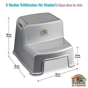 Zweistufiger Tritthocker für Kinder ab ca. 18 Monaten mit Anti-Rutsch-Funktion