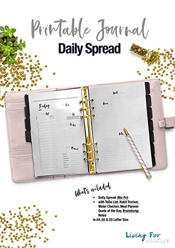 Printable Journal Daily Spread Rose - A5 - A4 - US letter: Plan ...