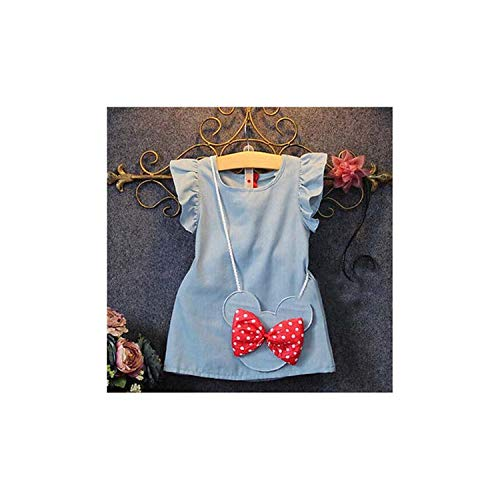 Girls Dress 2018 Summer Explosion Solid Color Denim Dress Cartoon Polka Dot Bow Cartoon Bunny Satchel Korean Baby Dress Dark Grey 24M - Candy Satchel