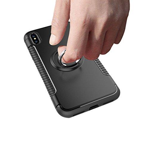 iPhone X Custodia, iPhone X Copertura, [ Nuovo materiale misto del PC & del TPU e ring supporto ] Ultra Durable Slim Protezione leggera Cover, Prova di polvere iPhone X Case - Azzurro Nero