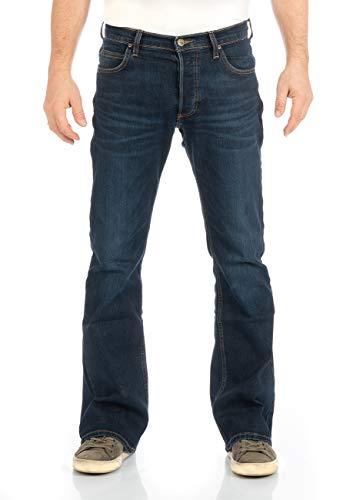 Lee Herren Jeans Jeanshose Denver Bootcut Denim Stretch Hose 85% Baumwolle Blau w30-w44, Größe:W 34 L 36, Farbvariante:Dark Blue Elko (HDBU)