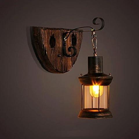 FHK,Wandleuchten Amerikanischen Retro-Stil Industrie LOFT nostalgischen Eisenstange Tisch Glas Holz Man Bekleidungsgeschäft Café Wand Dekorative Wandleuchten